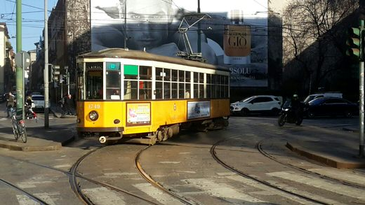 One of Milan's yellow trams.