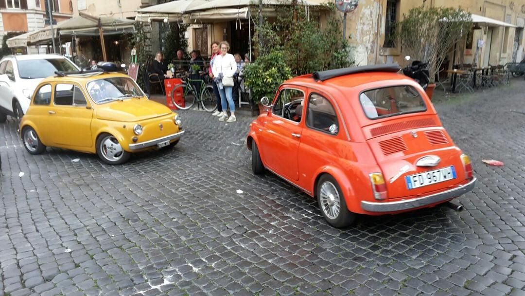 Old Fiat 500s in Trastevere, Rome.