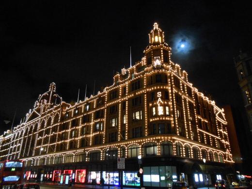 Harrod's at night, London.