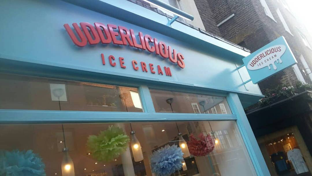 The bright blue exterior of Udderlicious, London.