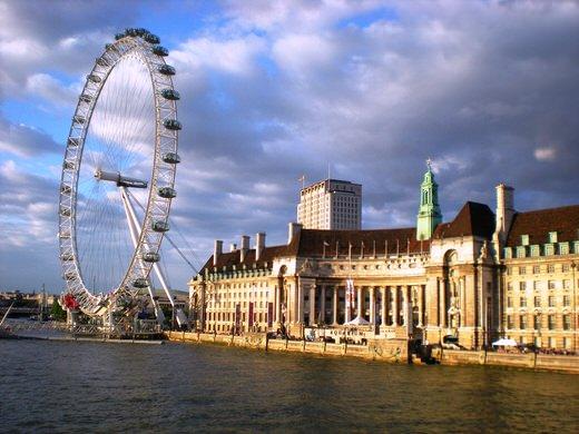 London Eye and County Hall, London.