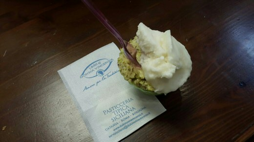 A delicious ice cream in Dolci di Nonna Vicenza in Rome , where you'll also find Sicilian sweets like cannolo.