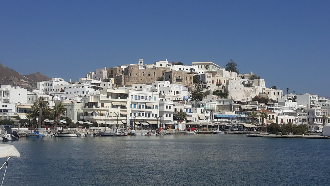 Naxos island: the port and the castle in Chora, Cyclades, Greece.