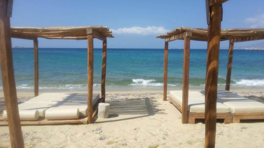 Plaka beach in Naxos, Cyclades, Greece.