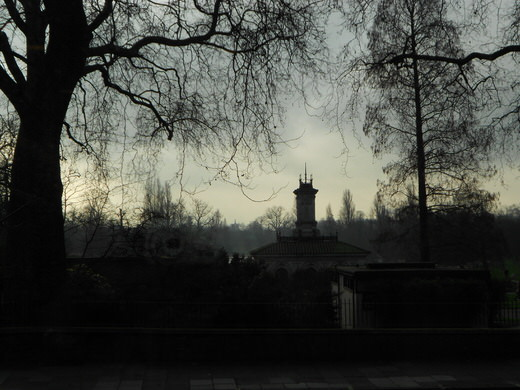 Hyde Park covered in winter mist, London.