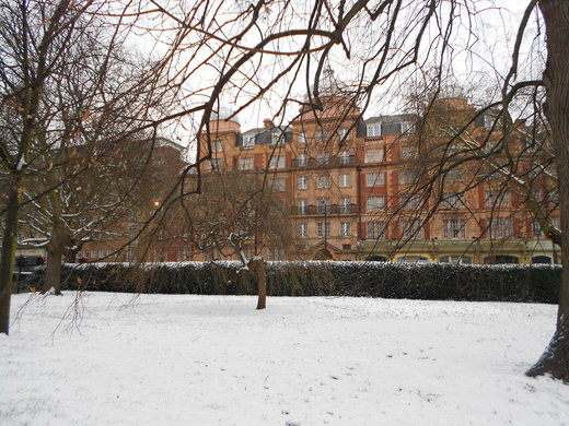 Hyde Park in London, covered in snow.